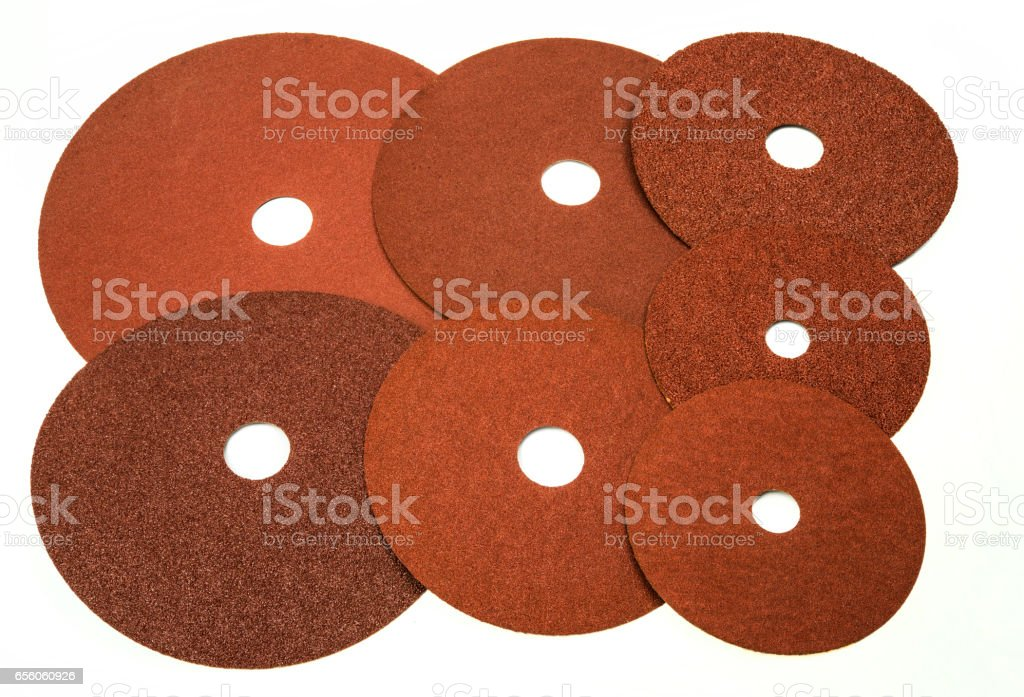 Sand Discs Sanding Paper for industrial and home use stock photo