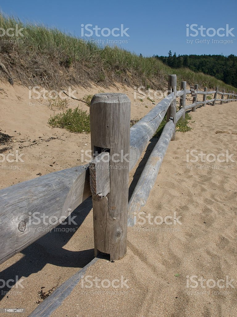 Sand Dune and Fence royalty-free stock photo