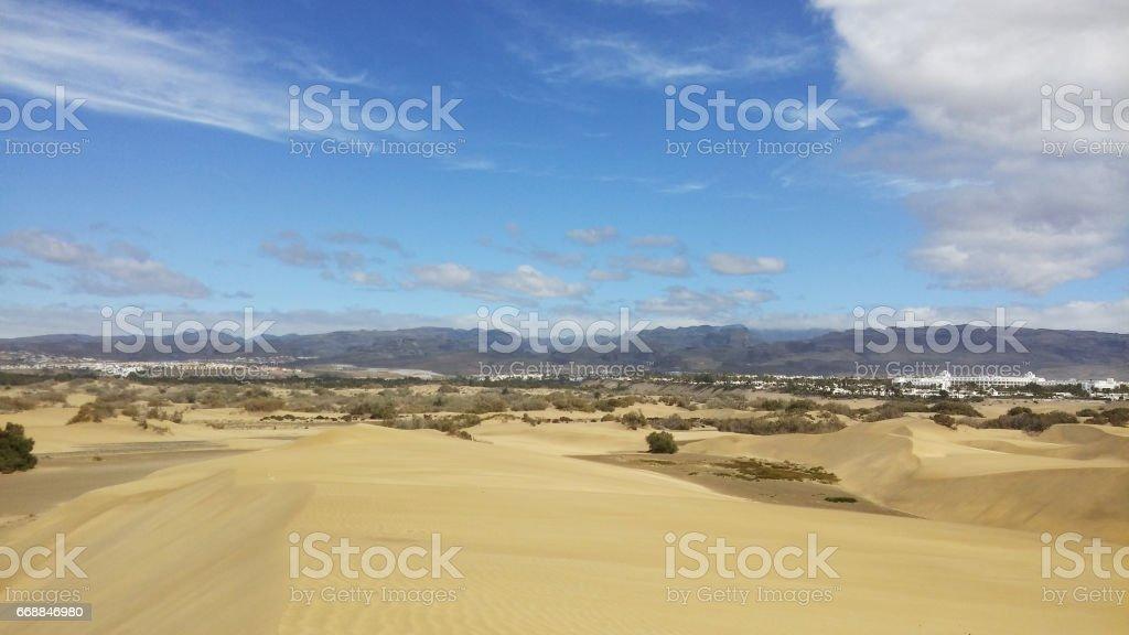 Sand dune at Maspalomas, Spain stock photo