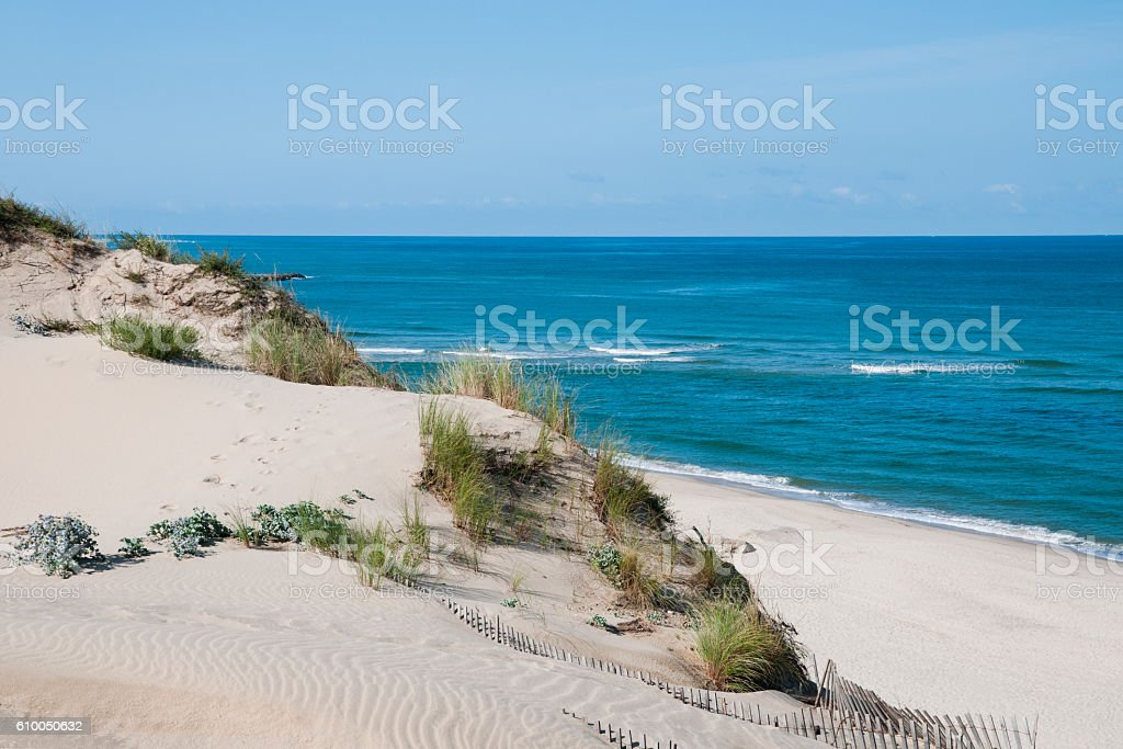 Sand dune in France stock photo