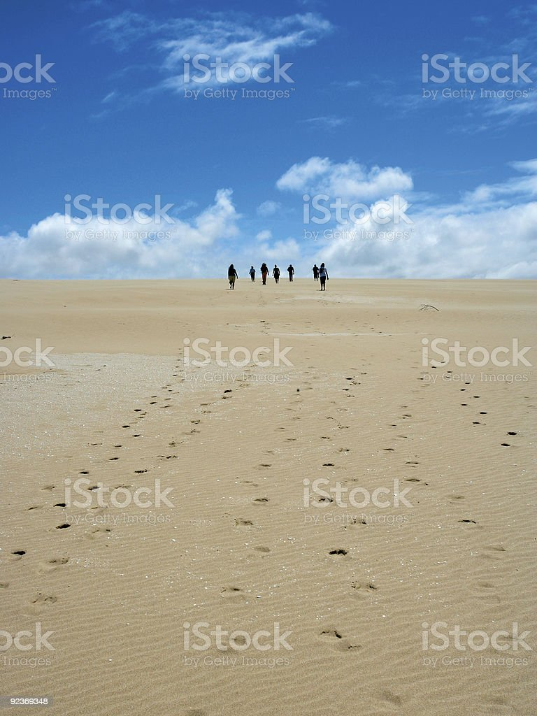 Sand dune walk stock photo