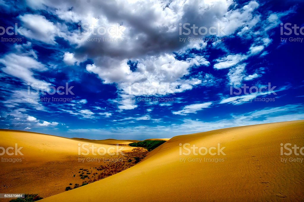Sand Dune with cloudysacape stock photo