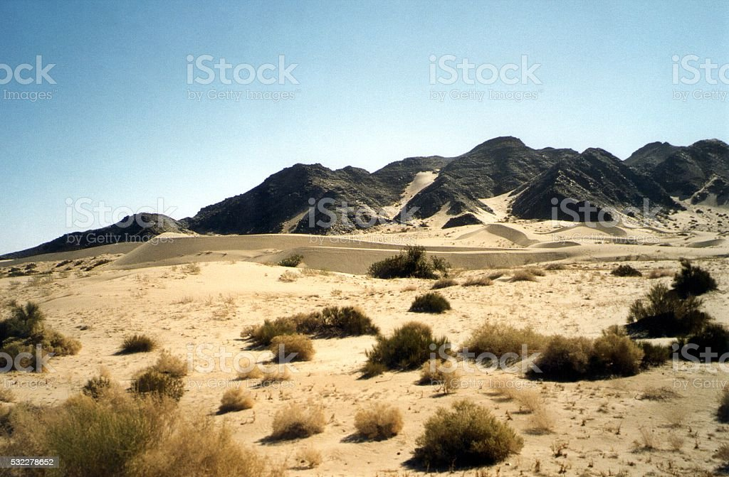Sand dunes along Highway 5 to Mexicali, Baja California, Mexico stock photo