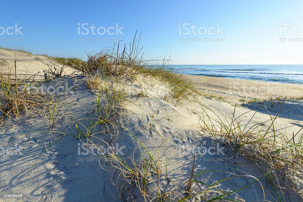 Sand Dunes Along Ocean of North Carolina stock photo