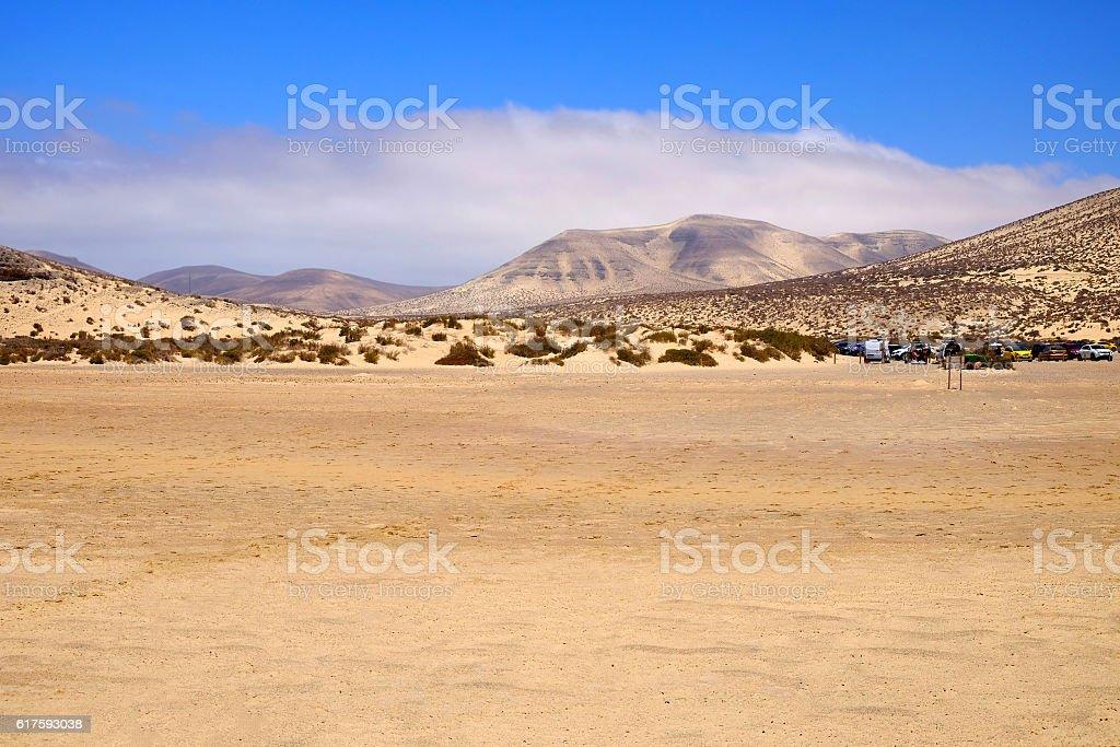 Sand dunes and hills on Fuerteventura, Spain. stock photo