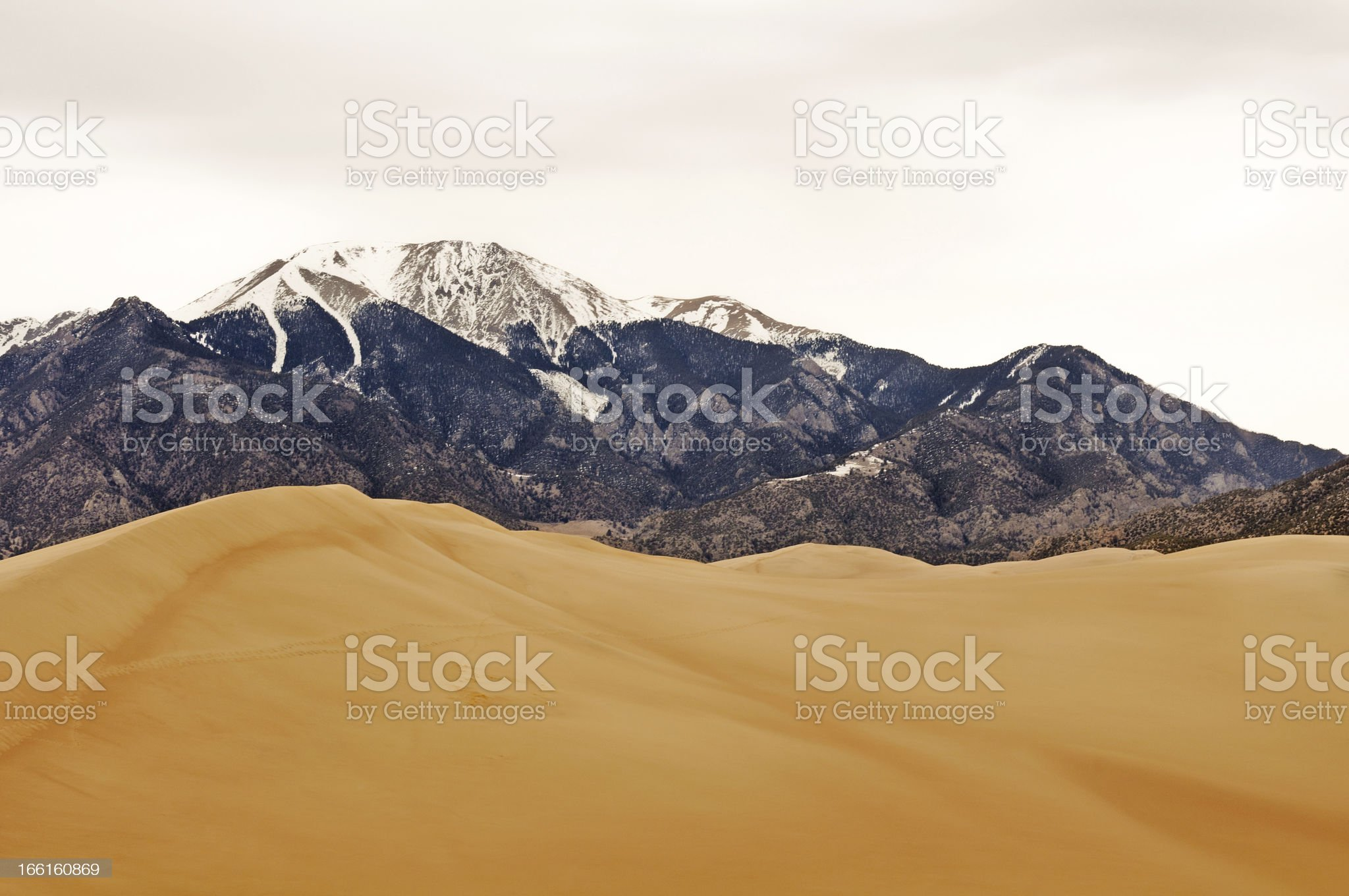 Sand Dunes  and Mountains in Winter royalty-free stock photo