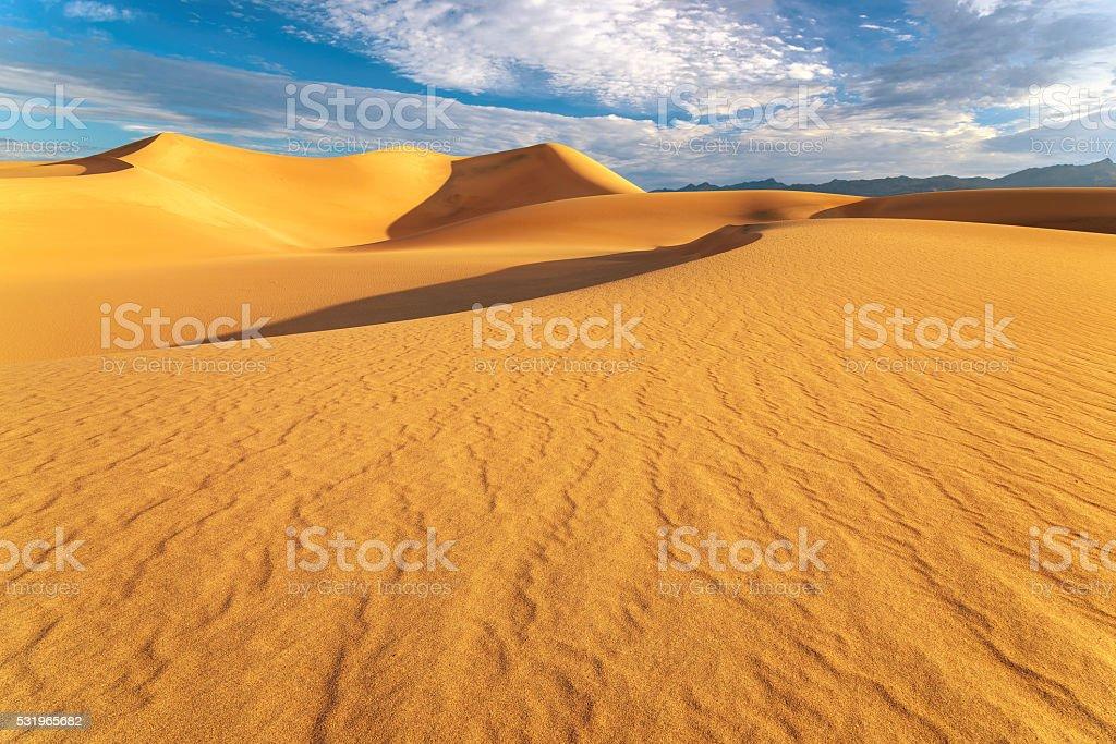 Sand dunes at sunrise in the Desert stock photo