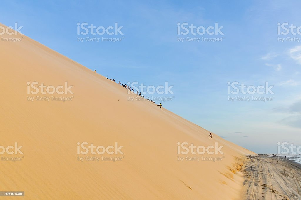 Sand dunes at sunset in Jericoacoara, Brazil stock photo