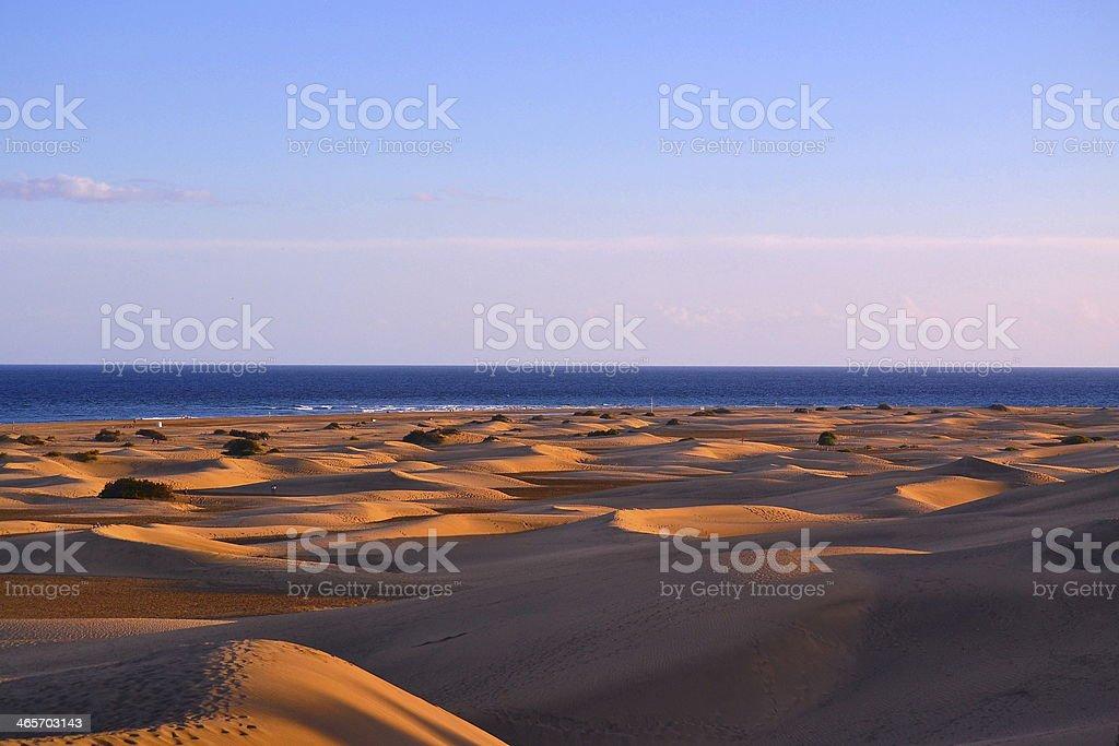 Sand Dunes At Sunset, Maspalomas, Gran Canaria stock photo