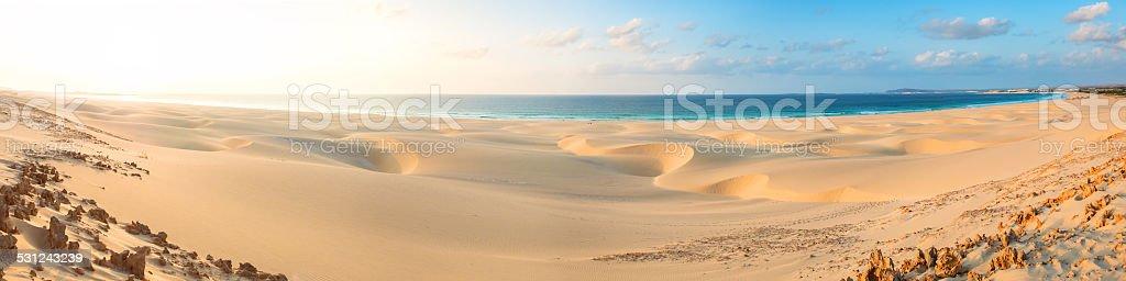 Sand dunes Chaves beach Praia de Chaves Boavista Cape Verde stock photo