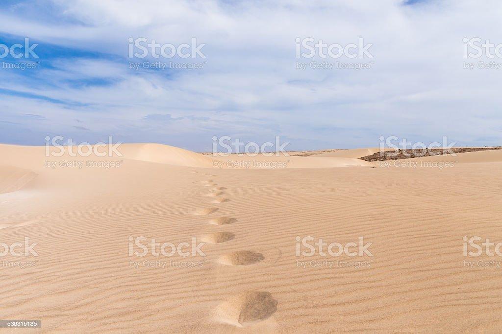Sand dunes in Boavista desert, Cape Verde stock photo