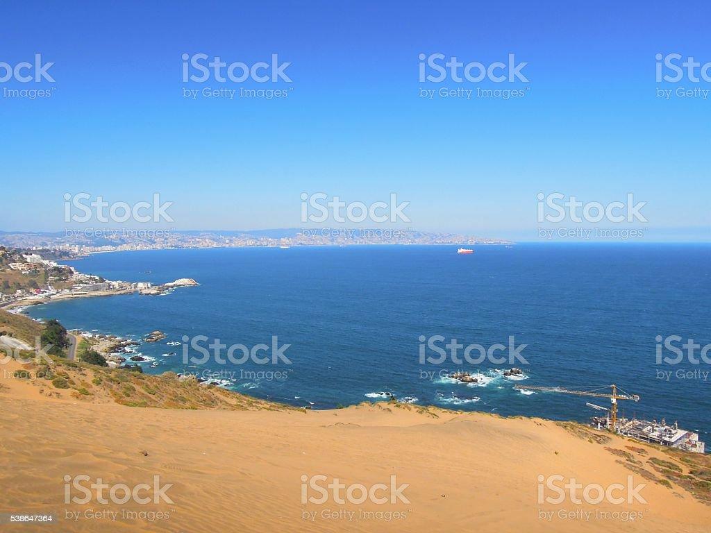 Sand dunes in Con Con stock photo