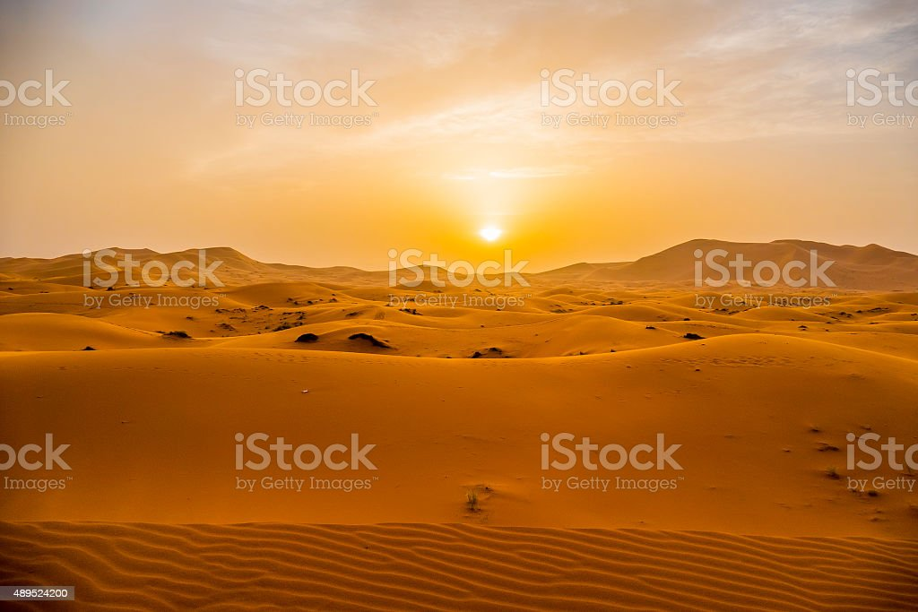 Sand dunes in Merzouga, Morocco stock photo