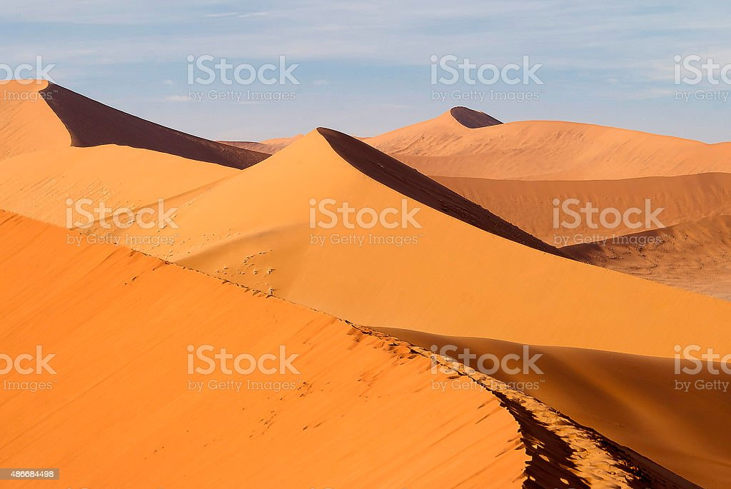 Sand dunes in the desert of Namibia stock photo