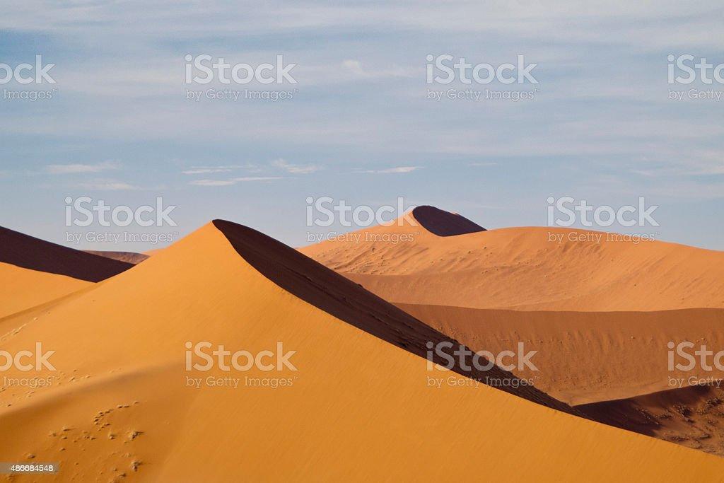 Sand dunes in the Namibian desert stock photo