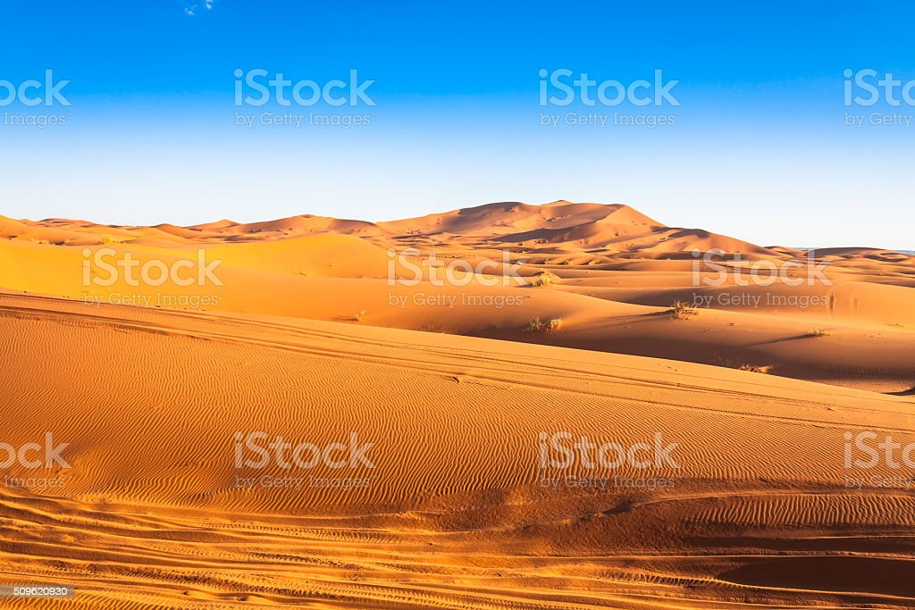 Sand Dunes in the Sahara Desert, Merzouga, Morocco stock photo