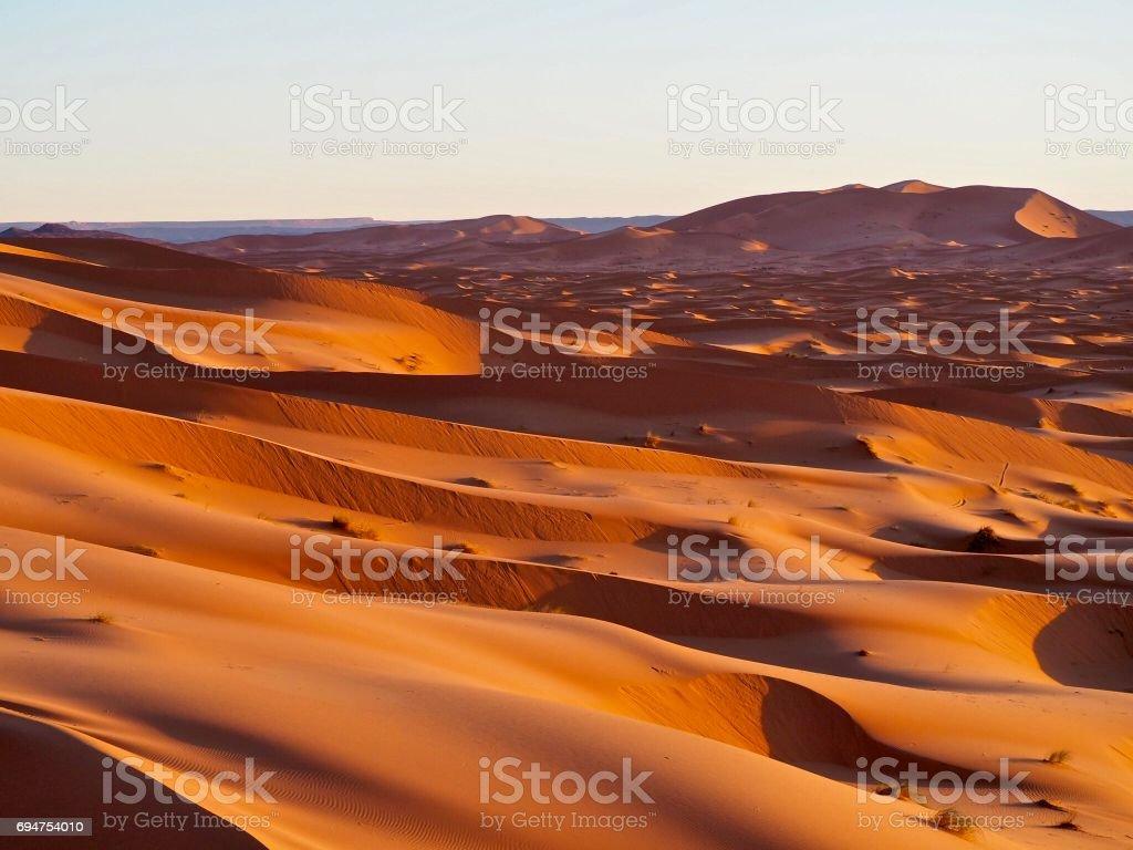 Sand dunes in the Sahara, Morocco stock photo