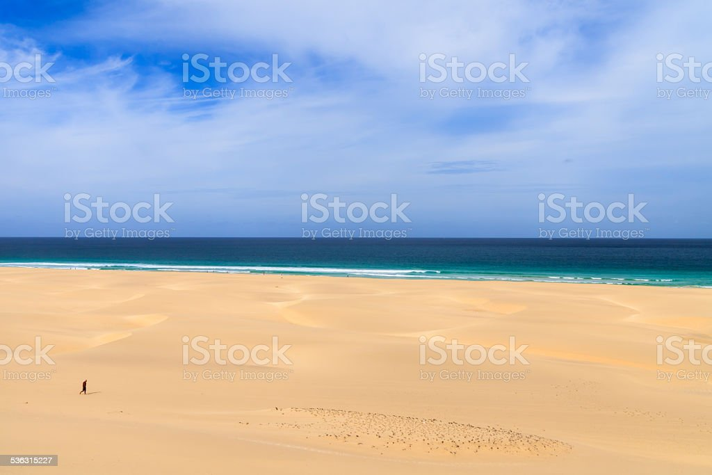 Sand dunes near to the ocean, Boavista, Cape Verde stock photo