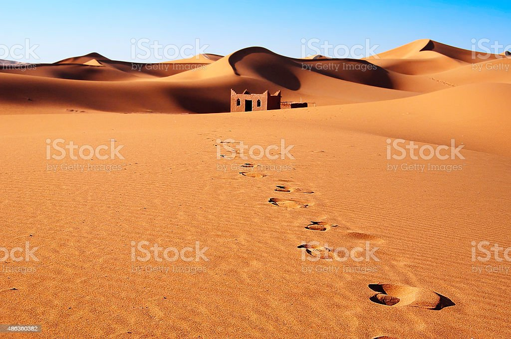 Sand dunes of Sahara Desert stock photo