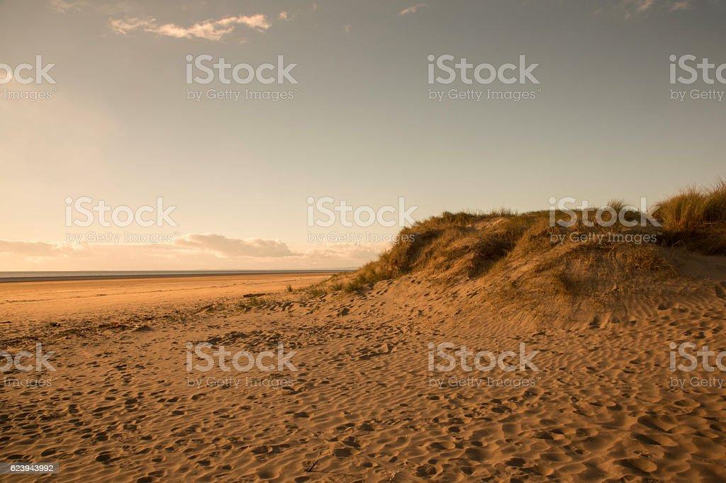 sand dunes on beach stock photo