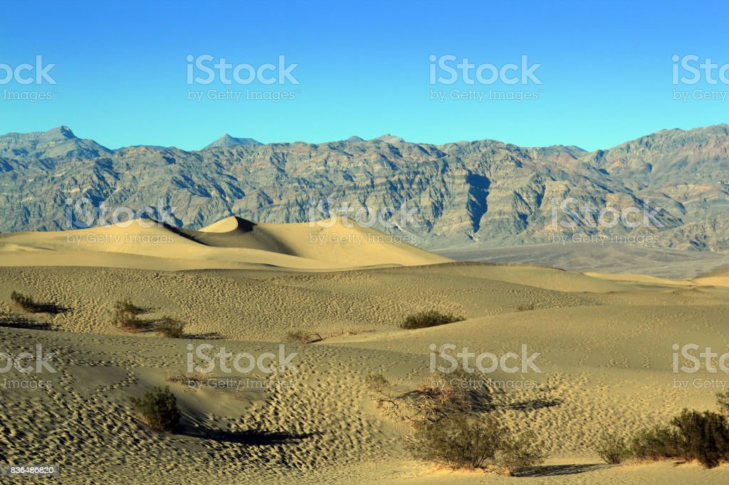 Sand Dunes, Ripples And Mountain Peaks, Death Valley National Park, California stock photo