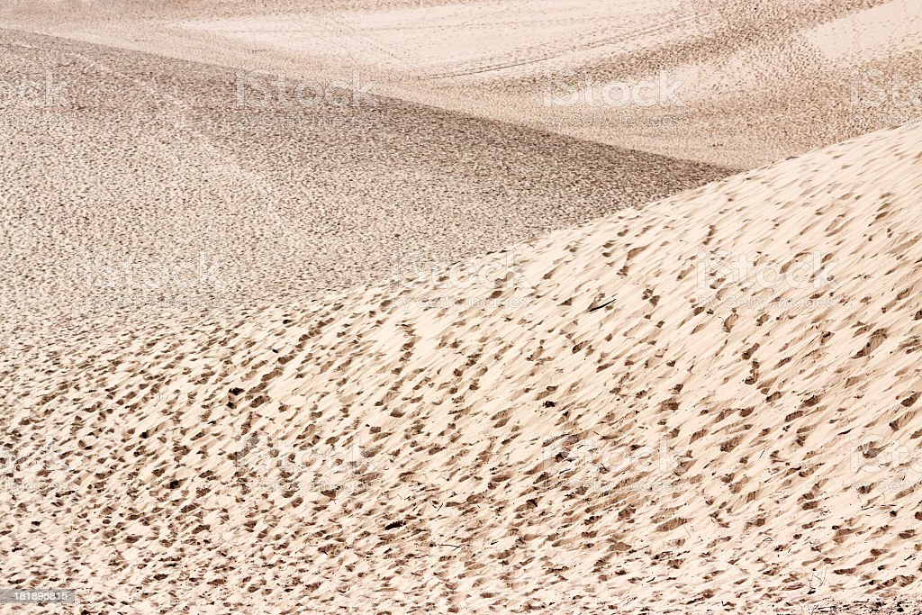 Sand dunes with waves formed by wind, copy space royalty-free stock photo