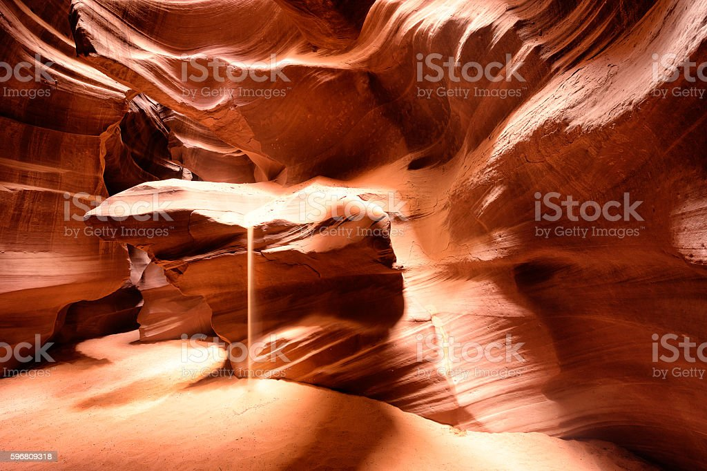 Sand Falling Down Inside Antelope Canyon stock photo