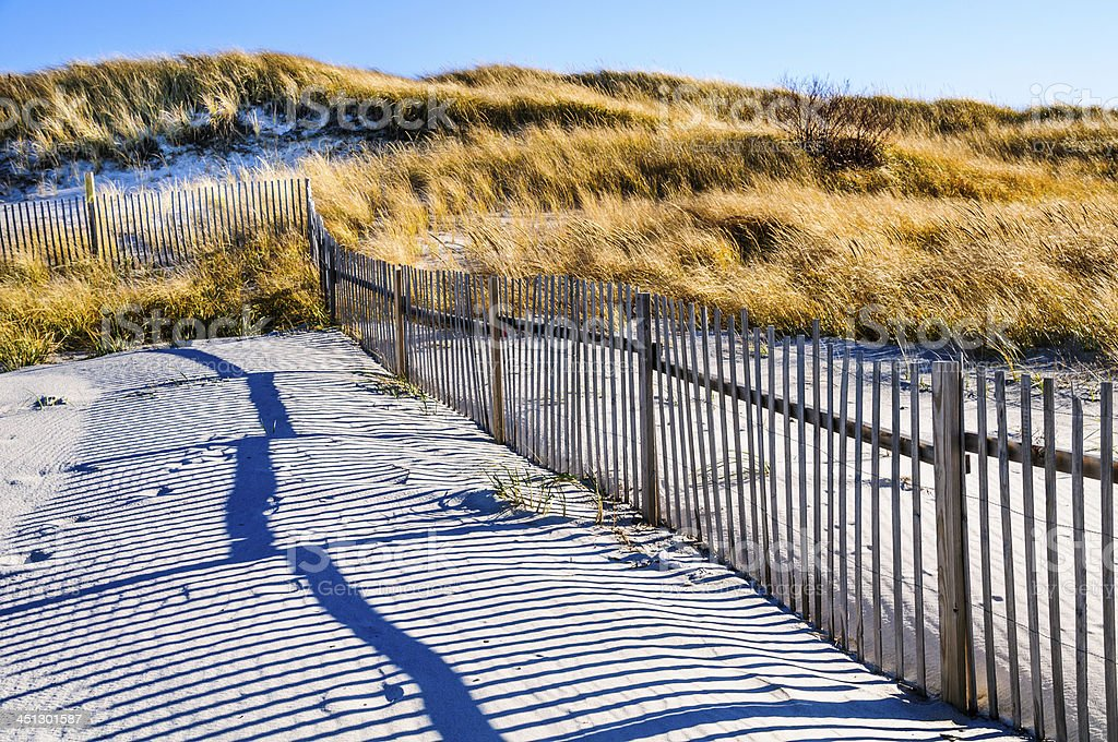 Sand Fence and Shadows stock photo