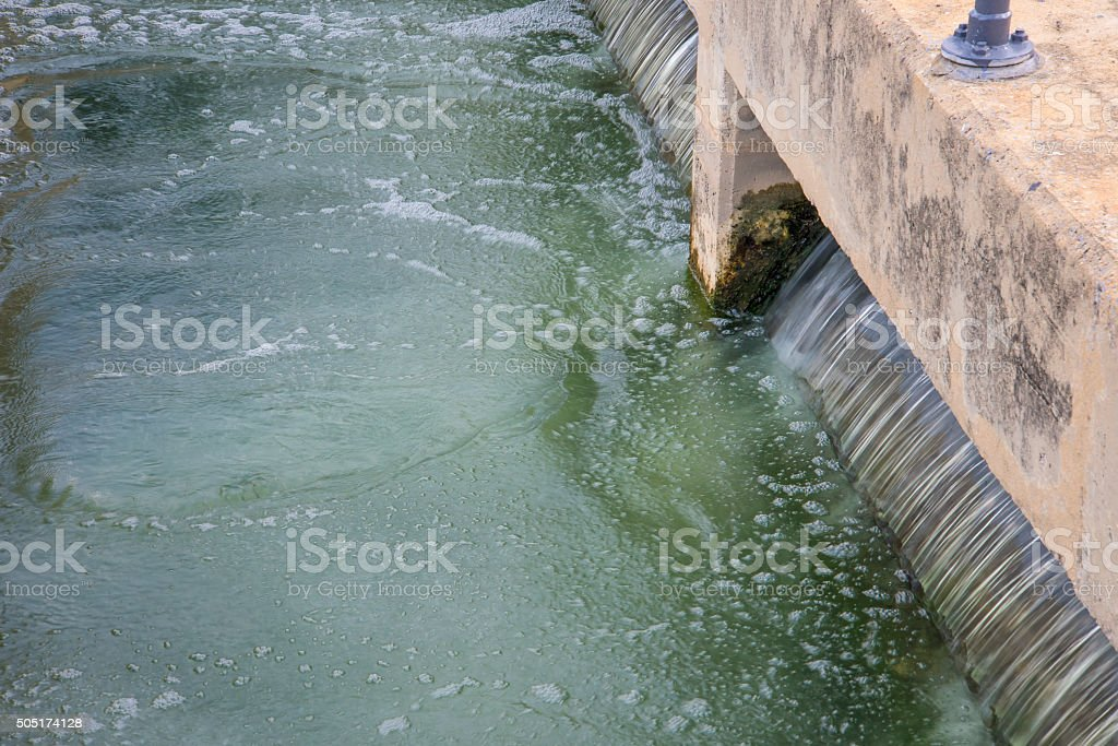 sand filtration tank at water treatment plant stock photo