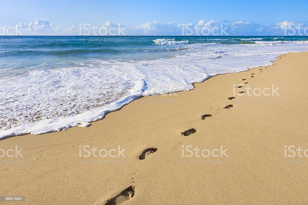sand, footprints, pacific ocean surf,  tropical beach, Kauai, Hawaii stock photo
