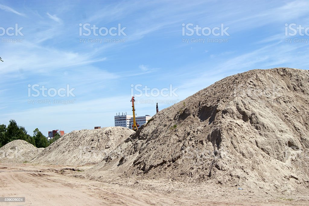 Sand for construction from the bottom of the river, cranes. stock photo