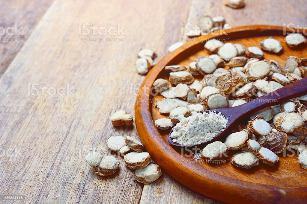 sand ginger sliced with powder on wooden spoon. stock photo