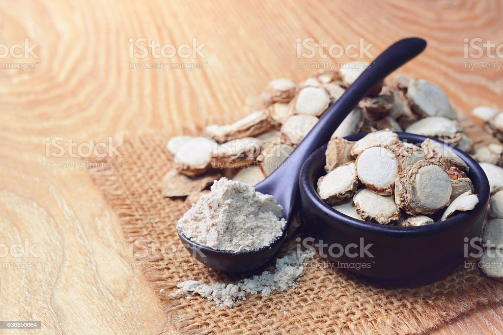 sand ginger sliced with powder. stock photo