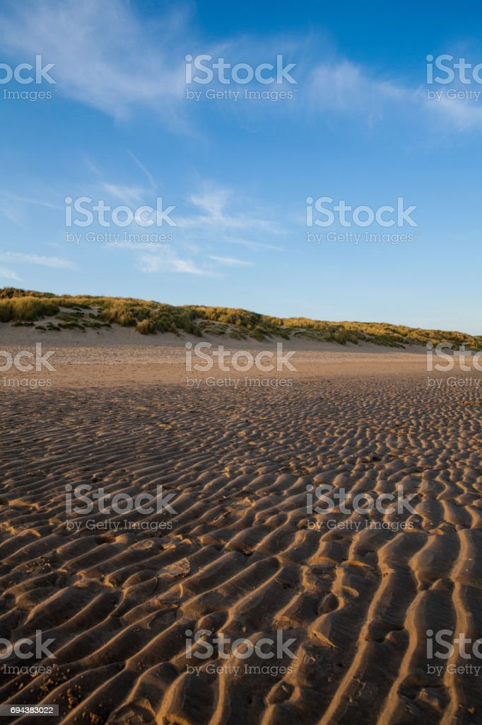 Sand grooves at the south coast of England stock photo