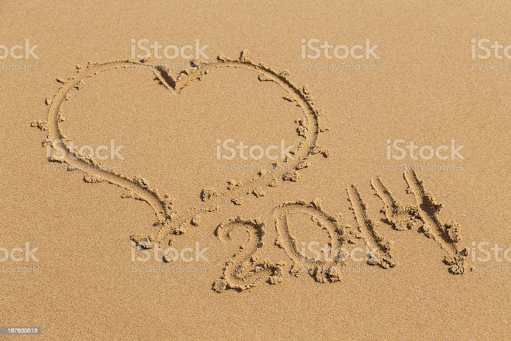sand heart 2014 year royalty-free stock photo