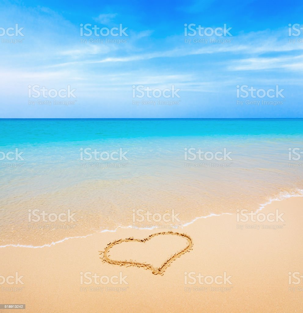 Sand heart stock photo