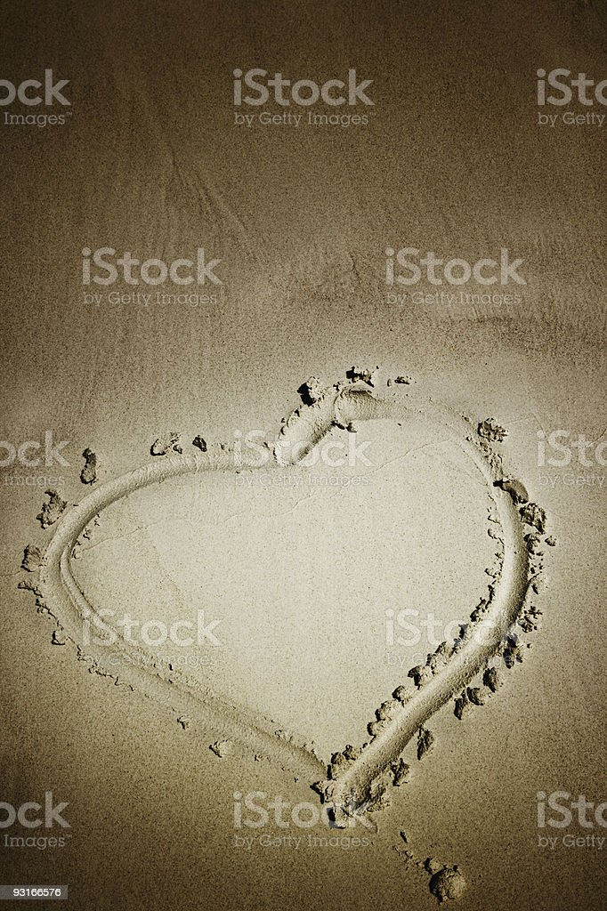 Sand heart royalty-free stock photo