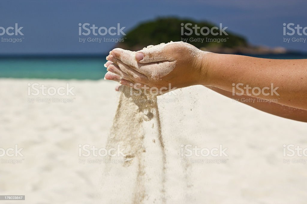 Sand in hands royalty-free stock photo