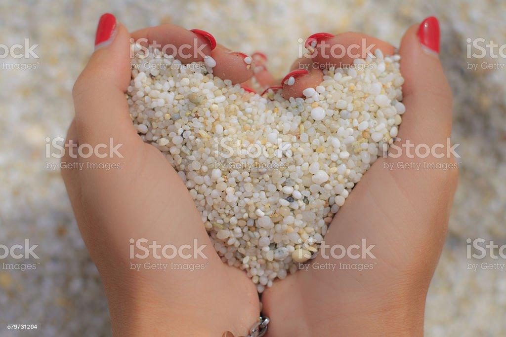 Sand love stock photo