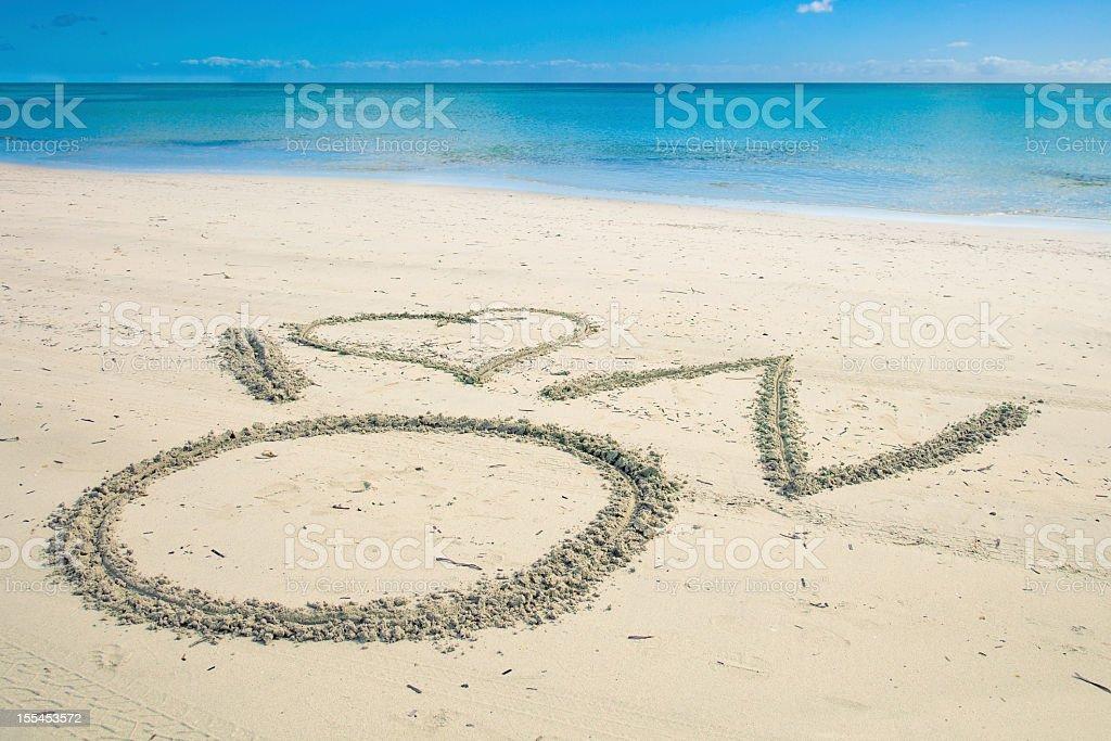 Sand Message stock photo
