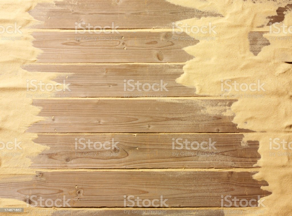 Sand on a Wooden Decking Background royalty-free stock photo