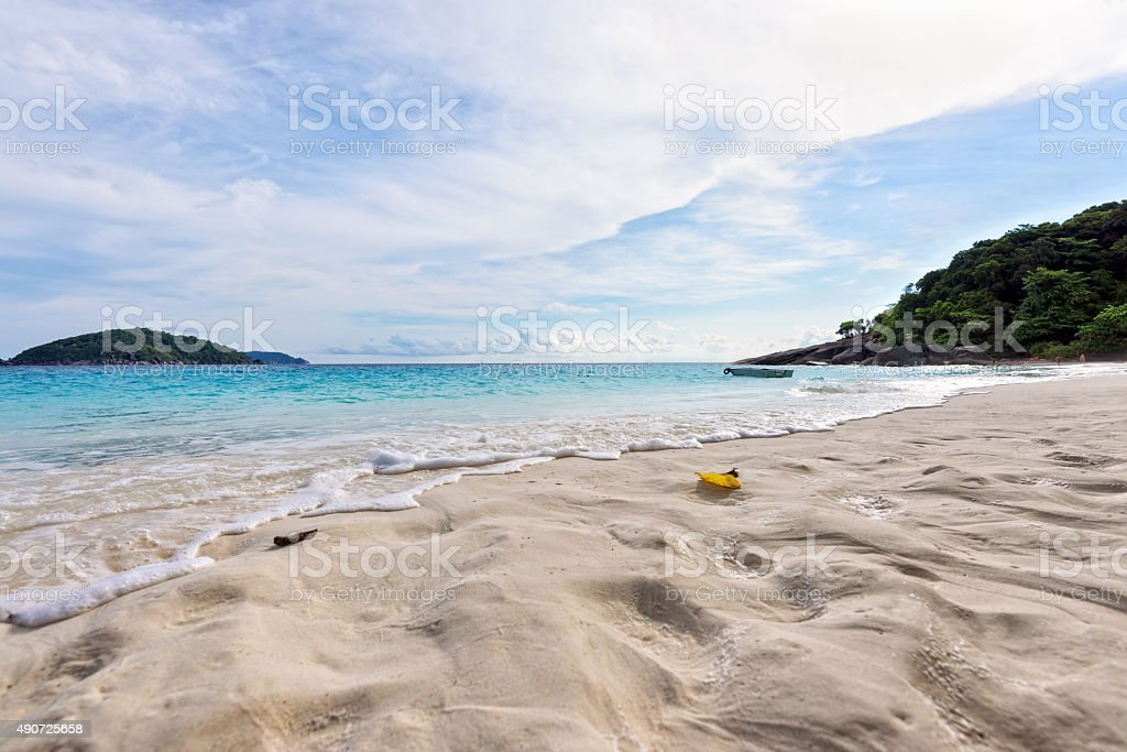 Sand on beach at Similan island in Thailand stock photo