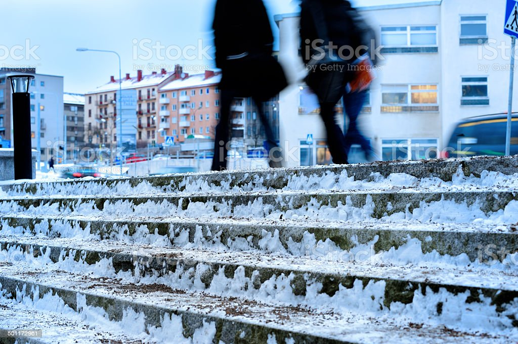 Sand on ice snow stairway steps in winter stock photo