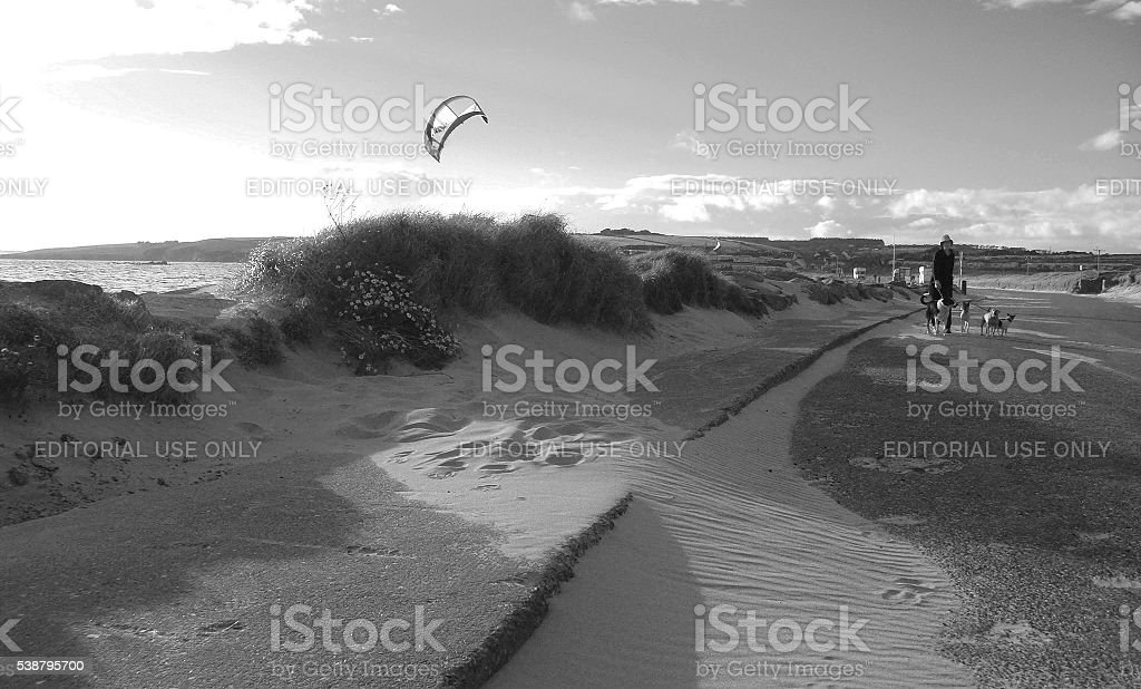 Sand on the road and wind, Ireland stock photo