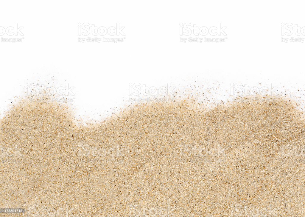 Sand on white background stock photo