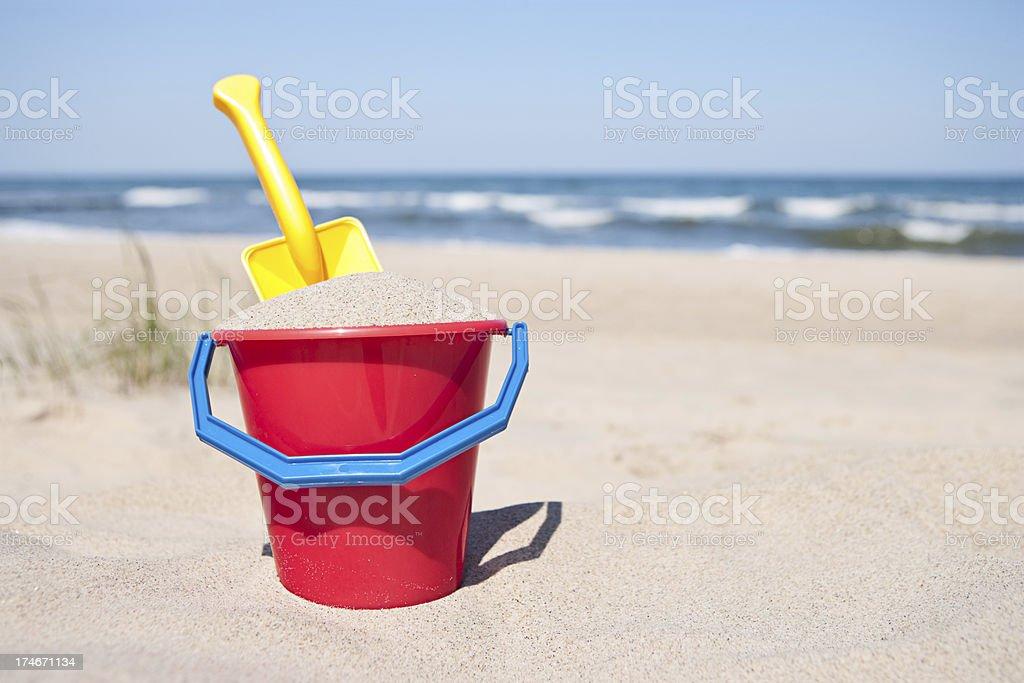 Sand pail and shovel royalty-free stock photo