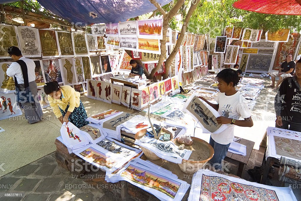 Sand painting in Myanmar royalty-free stock photo