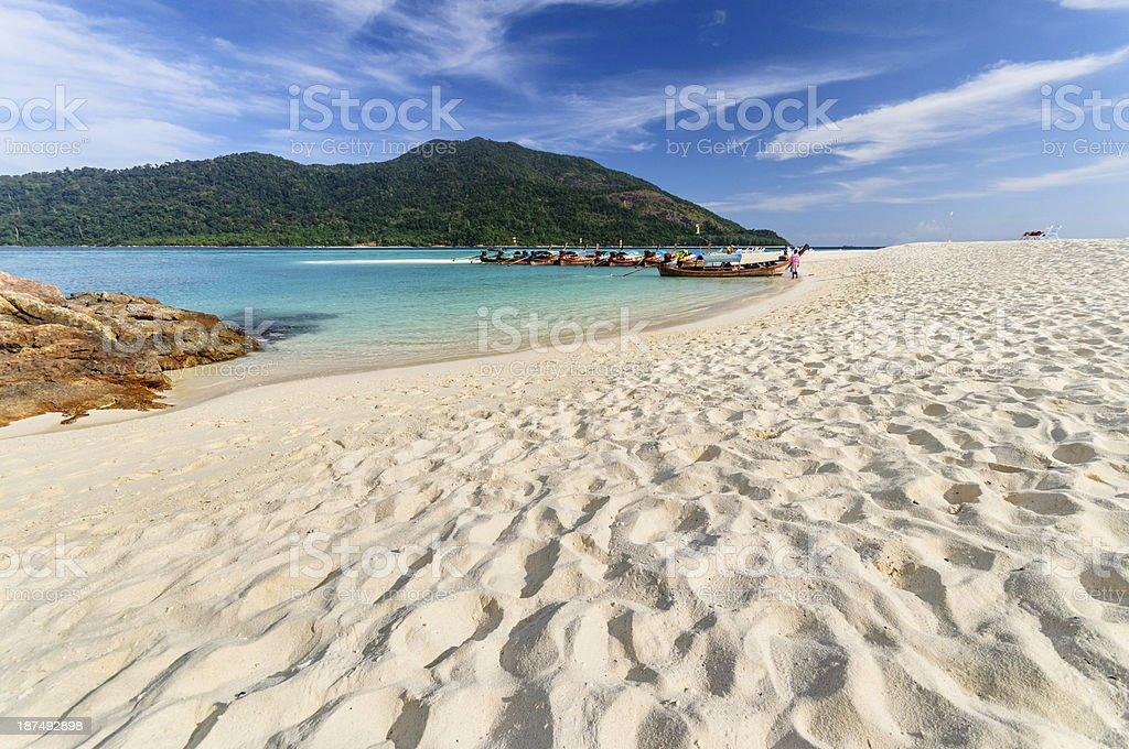 Sand pattern on the beach stock photo