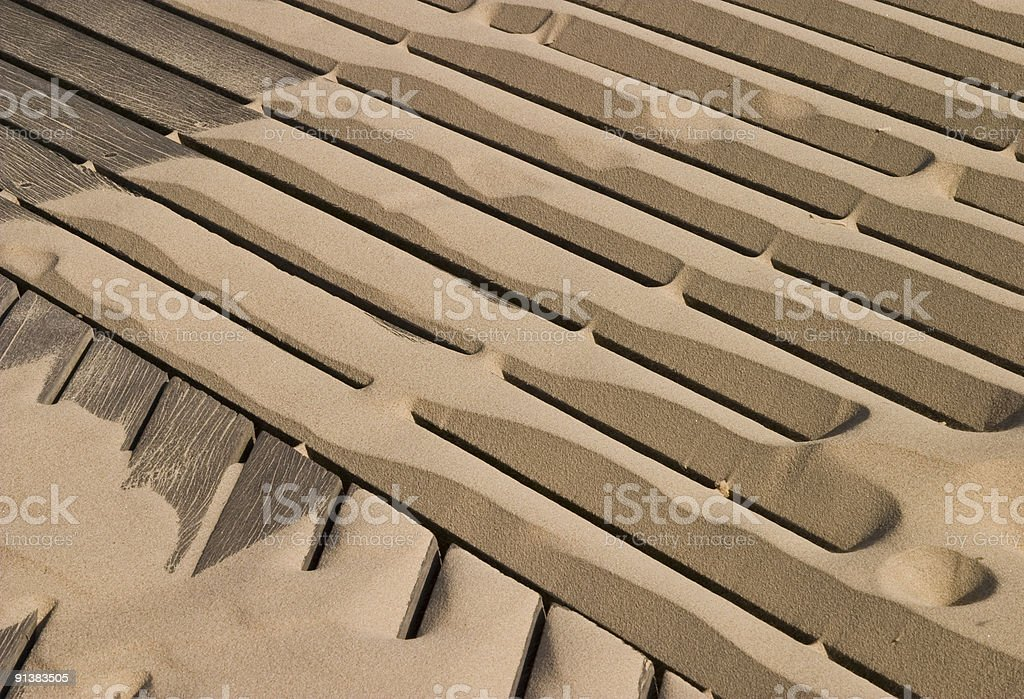 Sand Patterns, Diagonal Lines, Boardwalk, Background, Windblown, Looking-down stock photo