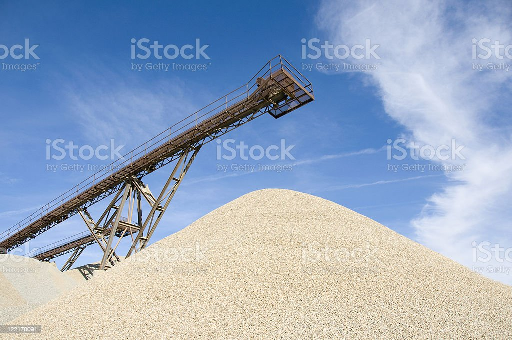 Sand Pile With Gravel Conveyour stock photo